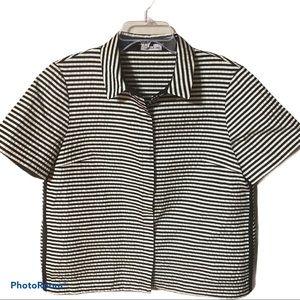Lafayette 148 snap front button up blouse